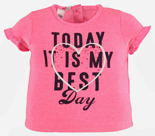 T-shirt bambina in cotone con rouches alle maniche ido PINK FLUO-5828