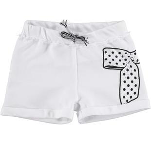 Shorts bambina in felpa leggera di cotone non garzata ido BIANCO-0113