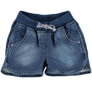 Shorts con pois in felpa stretch di cotone effetto denim ido DENIM-BIANCO-6CC4