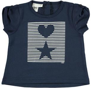 T-shirt con cuore e stella su stampa a righe ido NAVY-3854