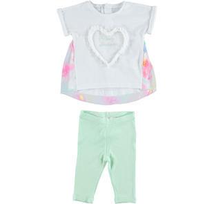 Completo maxi t-shirt floreale e leggings ido BIANCO-VERDE-8036