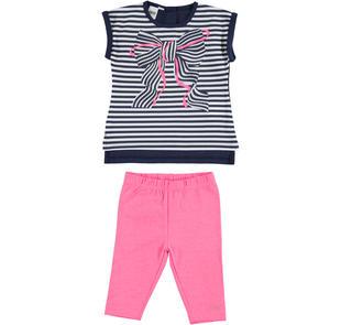 Completo maxi t-shirt rigata con fiocco e leggings ido BLU-ROSA FLUO-8417