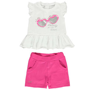 Coloratissimo completo bambina formato da t-shirt e shorts ido BIANCO-FUXIA-8043