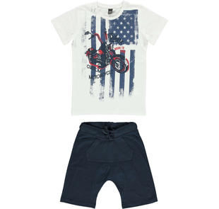 Completo t-shirt con motocicletta e pantaloncino ido BIANCO-BLU-8020