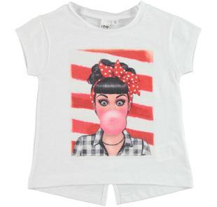 T-shirt con stampa in jersey fiammato 100% cotone ido BIANCO-0113