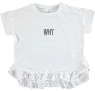 Particolare t-shirt con balza arricciata ido BIANCO-0113