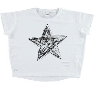 T-shirt vestibilità larga con strappi ido BIANCO-0113