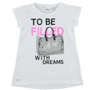 T-shirt svasata con stampa glitter ido BIANCO-0113