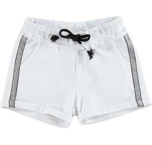Shorts in felpa stretch di cotone non garzata ido BIANCO-0113