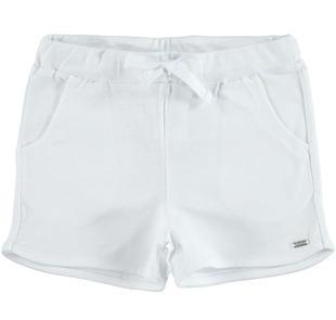 Comodissimi shorts 100% cotone per bambina ido BIANCO-0113