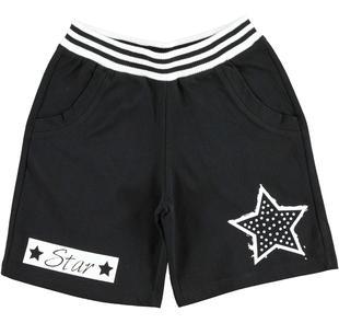 Pantalone corto in felpa con strass ido NERO-0658