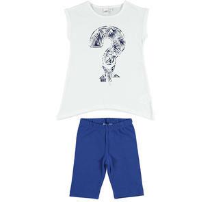 Completo maxi t-shirt stampa laminata e leggings ido BIANCO-BLU-8020