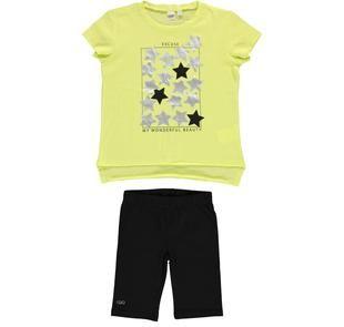 Completo maxi t-shirt con stelle e leggings ido GIALLO-NERO-8180