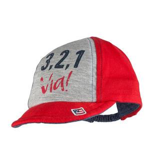 Cappellino con tesa ed inserto denim 100% cotone ido ROSSO-GRIGIO-8015
