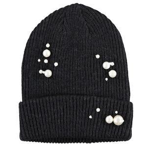 Berretto in tricot misto lana con perle ido NERO-0658
