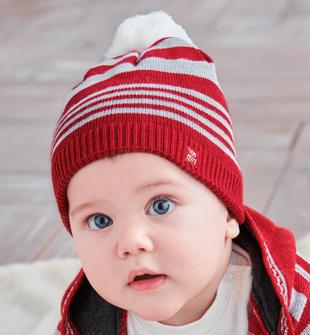 Cappellino neonato misto cotone e lana con pom pon ido ROSSO-2536