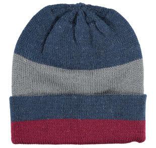 Cappellino modello cuffia con fantasia rigata ido NAVY-3856