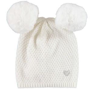 Cappellino modello cuffia con pompon ido PANNA-0112