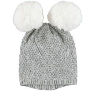 Cappellino modello cuffia con pompon ido GRIGIO MELANGE-8992