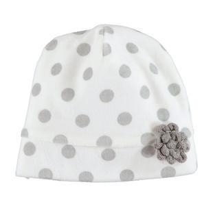 Cappellino modello cuffia in ciniglia a pois per neonata ido PANNA-GRIGIO-6FB4