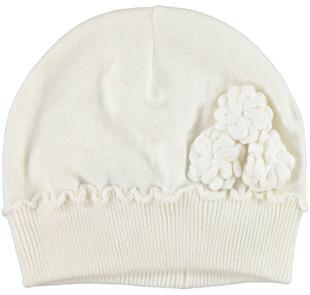 Cappellino in tricot con roselline laterali ido PANNA-0112