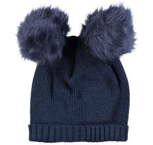 Cappellino per bambina misto lana con doppio pompon ido NAVY-3854