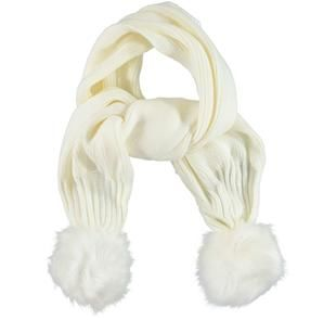 Sciarpa bambina in tricot misto lana con pompon ido PANNA-0112