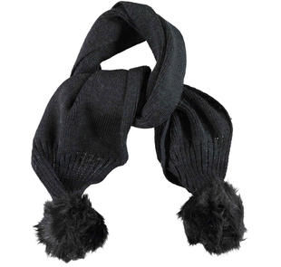 Sciarpa bambina in tricot misto lana con pompon ido NERO-0658
