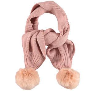 Sciarpa bambina in tricot misto lana con pompon ido ROSA-2513