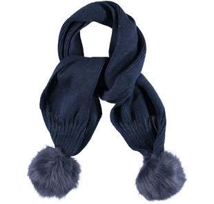 Sciarpa bambina in tricot misto lana con pompon ido NAVY-3854