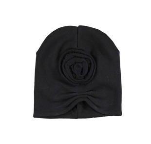 Cappellino a cuffia con rosa ido NERO-0658