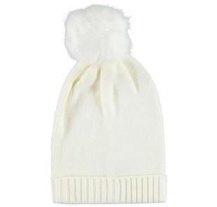 Cappello a cuffia in tricot con pompon in ecopelliccia ido PANNA-0112