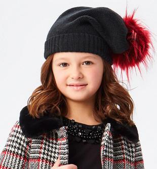 Cappello a cuffia in tricot con pompon in ecopelliccia ido NERO-0658