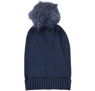 Cappello a cuffia in tricot con pompon in ecopelliccia ido NAVY-3854