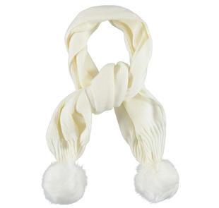 Calda sciarpa per bambina in tricot misto lana con pompon ido PANNA-0112