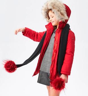 Calda sciarpa per bambina in tricot misto lana con pompon ido NERO-0658