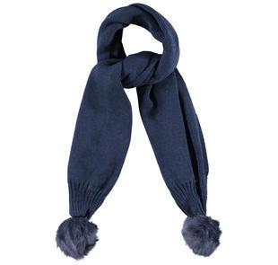 Calda sciarpa per bambina in tricot misto lana con pompon ido NAVY-3854
