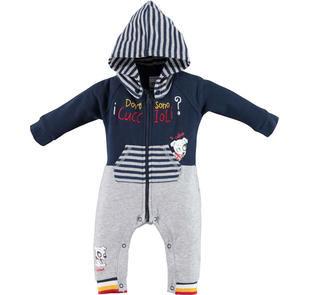 Tutina bicolore con cappuccio staccabile per neonato ido BLU-GRIGIO-8009