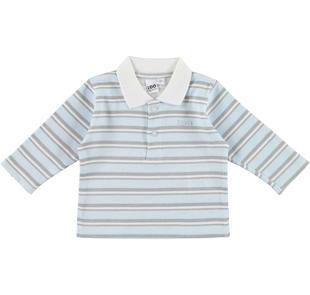 Polo 100% cotone rigato per neonato ido AZZURRO-GRIGIO-8019