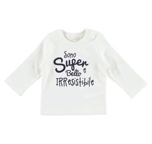 Simpatica maglietta in caldo cotone ido PANNA-BLU-8132