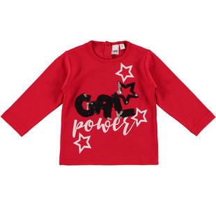 Maglietta 100% caldo cotone con glitter e paillettes ido ROSSO-2253