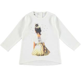 Maxi maglietta 100% cotone con ballerina ido PANNA-0112