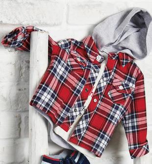 Camicia a quadri in twill di cotone dalla mano calda ido ROSSO-BLU-8010