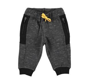 Pantalone in speciale felpa melange con inserti laterali ido NERO-0658