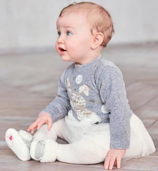 Grazioso vestitino in ciniglia e tulle con coniglietto ido GRIGIO-PANNA-8139