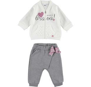 Comoda e pratica tuta neonata in felpa misto cotone garzata ido PANNA-GRIGIO-8131