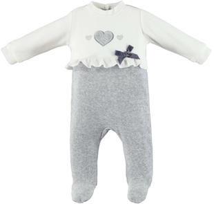 Graziosa tutina intera neonata in ciniglia con cuore ricamato ido GRIGIO-PANNA-8139