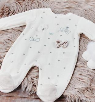 Tutina intera neonata in ciniglia con fantasia pois e fiocchi glitter ido PANNA-0112
