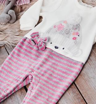 Tutina intera in ciniglia con finta maglietta con orsetto e pompon ido PANNA ROSA-8146