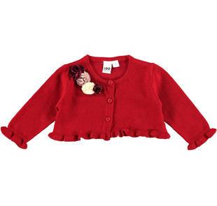 Cardigan corto in tricot misto cotone con fiori in applicazione ido ROSSO-2259